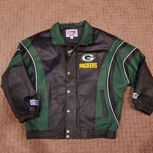 Starter Green Bay Packers Leather Jacket Vtg EUC L